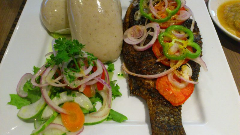 Ghana Food : Banku and Tilapia